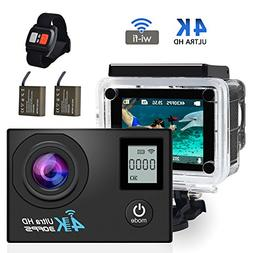 4K WIFI Action Camera,ZOTO Dual Screen Sport Cameras Underwa