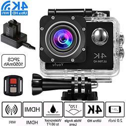 4K WIFI Sports Action Camera, Ultra HD Waterproof Cam DV Cam