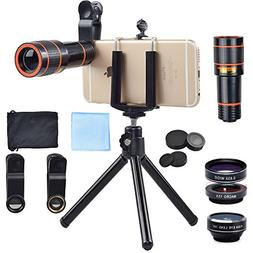 Apexel 4 in 1 12x Zoom Telephoto Lens + Fisheye + Wide Angle